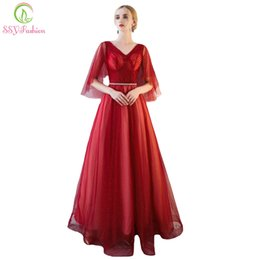 Wholesale Wine Red Elegant Evening Gown - SSYFashion New Simple Evening Dress The Bride Banquet Elegant V-neck Wine Red Floor-length Prom Gown Custom Made Formal Dresses