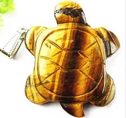 Wholesale Bc White - Unique Natural Tiger Eye Gem Carved Tortoise Pendant Bead Bc