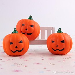 Wholesale Horror Charms - 7cm Orange Simulation PU Squishies Portable Cell Phone Charm Halloween Smile Face Pumpkin Squishy Jumbo Fashion 4sh CR