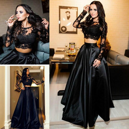 Wholesale Two Piece Satin Gowns - Sexy Two Pieces Arabic Evening Dresses Ball Lace Long Sleeve Black Plus Size 2018 Saudi African Prom Party Women Gowns Formal Wear