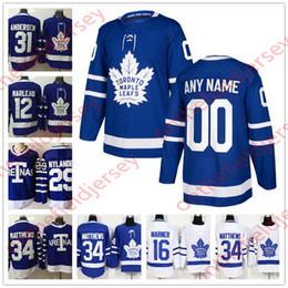 Custom Toronto Maple Leafs NUOVO marchio cucito su qualsiasi numero Nome Royal Blue Home Arenas Bianco 34 Matthews Hockey Maglie taglia S-XXXL da
