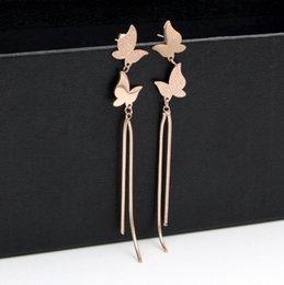 2019 joyería de la mosca Alta Calidad Clásica Marca Doble Mariposa de Titanio de Acero Tassel Dangle Pendientes de Oro Rosa Stud Pendientes Para Las Mujeres joyería joyería de la mosca baratos