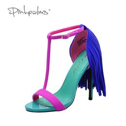 sandalia fucsia Rebajas Pink Palms 2017 mujeres zapatos de verano flecos de tacón alto color fucsia T correa del tobillo vestido de fiesta OL sexy sandalias