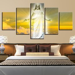 Wholesale Painting Jesus Christ - Modern Canvas Painting 5 Panel No Frame Jesus Christ Wall Modular Picture For Living Room Home Church Decor Print Poster Painting