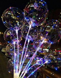 Wholesale led light up toys wholesale - New Bobo Ball LED line with Stick Wave Ball 3M String Balloon light Up for Christmas Halloween Wedding Birthday Home Party Decoration