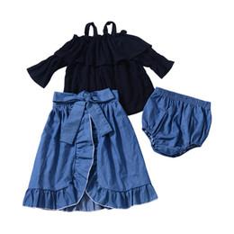 2019 camisa de los pantalones de la liga de las muchachas Baby Girls Tops Shorts Faldas 3 unids Conjuntos Tirantes de manga larga T-shirt PP Pantalones Falda Fishtail Trajes Para Niños Ropa de Otoño Gratis DHL A900 rebajas camisa de los pantalones de la liga de las muchachas