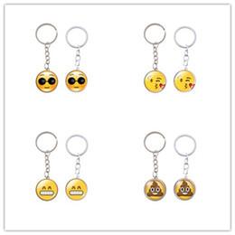 Wholesale Girls Smile Face - Cartoon Emoji 2.5cm Mini Keychains Cute Round Face Many Style Keys Ring Charm Metal Cry Smile Design Key Buckle 1 3sx Z