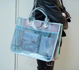 Wholesale big zipper purse - New Women Ice Cream Flap Handbags Jelly Transparent Big Clear PVC Plaid Chain Shoulder Bags Tote Crossbody Bag Designer Purse Female Bag