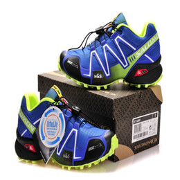 Wholesale fluorescent shoe laces - Solomon Speedcross 3 CS III Royal Blue Fluorescent Green Outdoor Male Camo Sneakers Men Speed Cross Speed 3 Running Shoes Euro 40-46