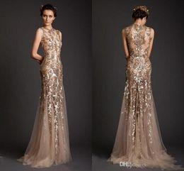 Wholesale Trumpet Shaped Prom Dresses - 2018 Krikor Jabotian Evening Dresses Gold Mermaid Shape Tulle Sexy Sheer Appliques Jewel Prom Dress Emboridery Long Formal Dubai Gowns