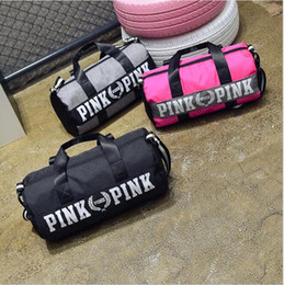 Wholesale Waterproof Luggage Motorcycle - New Fashion Women Handbags Pink Letter Travel Bag Large Capacity Waterproof Luggage Bag Yoga Sports Fitness Beach Totes
