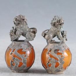 estátua de prata dragão chinês Desconto Um Par De Cera De Abelha ChinesaSilver Handmade LionsDragons Statue