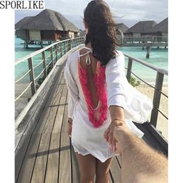 Argentina x Backless Tassel Bikini Cover Up Hollow Crochet Swimsuit Beach Dress Mujeres 2018 Summer Ladies Cover-Ups Traje de baño Ropa de playa cheap x backless dress Suministro