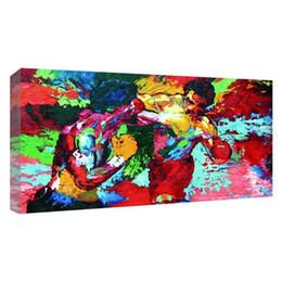 Paredes pintadas a óleo on-line-UNFRAMED Pintura A Óleo Moderna Rochoso vs Apollo-Leroy Neiman Boxe HD Impressão de tela Home Decor Sala de estar Quarto Fotos de Parede Arte (Unframe