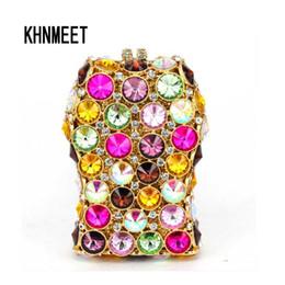 Monederos de diamante morado online-El más nuevo Fuschia Multicolor Clutch Evening Bag Deep Purple Mujer Bolsos de noche Diamantes Monedero Pequeño Día Embragues Bolsos 330