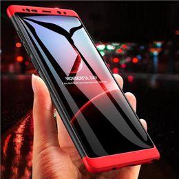 Capa de telefone 3in1 on-line-Para iphone xs x r max x 8 7 6 6 s plus 360 phone case 3 em 1 fosco shell híbrido magro tampa traseira à prova de choque para samsung galaxy note 9 8 s9 s8
