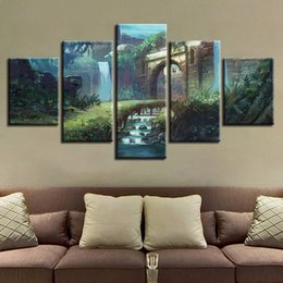 Wholesale Waterfall Art - Canvas Artworks HD Print 5 Pieces Waterfall Tree Grass Scenery Painting Wall Art Modern Modular Frame Pictures Poster Decor Room