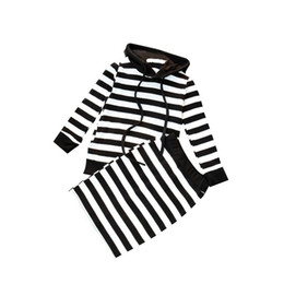 Wholesale Toddler White Tights - Baby Girls Hoodie Skirt Black White Striped Long Sleeve Tight Skirts Spring Autumn Clothing Sets Two-piece Kids Toddler Outfits 2-6T