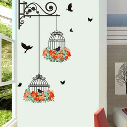 Wholesale Removeable Vinyl - Wall Stickers Birdcage Birds for Kids Room Home Wall Decor Removeable Mural Decal Wallpaper Vinyl Cheap Stickers On The