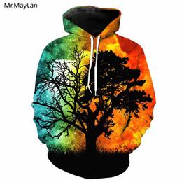 2020 куртки галактики мужчины Hipster Galaxy Big Tree Sunset 3D печати куртка толстовки Мужчины / Женщины творческий уличная пуловер шляпа кофты мальчиков пальто одежда дешево куртки галактики мужчины