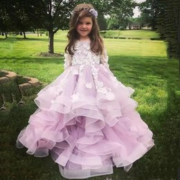 brithday dresses Promo Codes - Lovely Jewel Long Sleeves Flower Girls Dresses With White Applique Long Sleeves Brithday Gowns Tiered Ruffle Custom Made Party Dresses