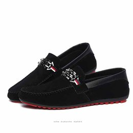 Wholesale Open Toe Red Shoes - Red Bottoms Loafers Black Men Shoes Slip On Men's Leisure Flat Shoes Fashion Male Breathable Free Shipping