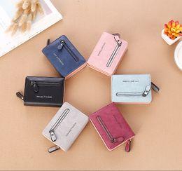 Wholesale Women Leather Pure Wallet - Vintage Ladies Zero Purses Short Style PU Leather Zipper Mini Wallets Card Holders Six Colors Pure Color Money Bags