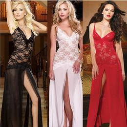 Nuova donna sexy scollo a V pizzo lingerie Sleepwear Dress Rosso Nero Bianco Prospettiva Sexy confortevole camicia da notte da