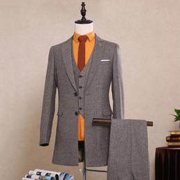 Wholesale Men Evening Suit Pants - Wedding Groomsmen Tuxedos Grey Back Vent Notched Lapel Two Button Custom Made Business Evening Party Suits For Men (Jacket+Vest+Pants) SG023
