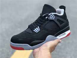 mid top shoes Promo Codes - Best New 4 bred IV OG black red low men basketball shoes sports sneakers male 4s trainers outdoor top quality size 7-13