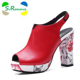 competitive price 563a1 1be8c S.Romance Sandalias de Mujer Más El Tamaño 32-42 Moda de Verano de Tacón  Alto Lady Pumps Plataforma Peep Toe Zapatos de Mujer Negro Blanco Rojo SS805