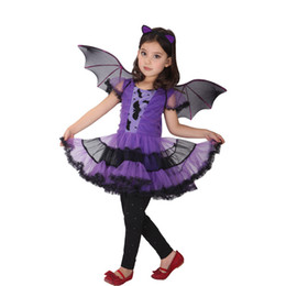 Wholesale Halloween Bat Wings - 3pcs Set Purple 100-160cm Girl Dress Halloween Costumes Masquerade Party Cosplay Costume Witch Bat Clothes Hair Accessories Wing