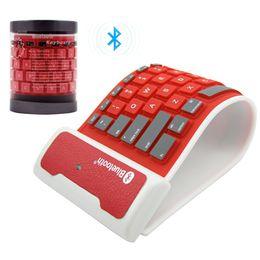 Wholesale wireless silicone bluetooth keyboard - Foldable Wireless Bluetooth 3.0 Silicone Keyboard Universal Waterproof Bluetooth Keyboard For Smart Phone Laptop Tablet