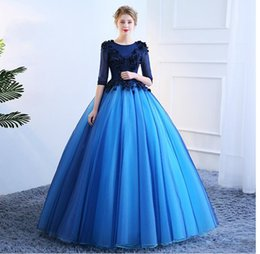 Wholesale Vintage Photography - SSYFashion New Prom Dress Beautiful Photography Colorful Blue Lace Appliques Half Sleeved Lomg Party Ball Gown Robe De Soiree
