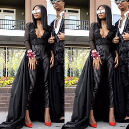 Combinaison de soirée noire en Ligne-2019 Nouvelle Mode Robes De Bal Combinaisons Col V Perlant Pantalon Noir Robes De Soirée De Soirée Plus La Taille Vestidos De Fiesta