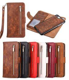 cinghia di caso della cinghia di iphone Sconti 2 in 1 staccabile Zipper il portafoglio di cuoio del telefono caso della copertura con la cinghia per l'iphone 11 Pro Max XS XR 8 7 6S Inoltre Samsung S8 S9 S10e Inoltre Nota 8 9