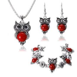 Wholesale tibetan owl charms - New Brand Design Owl Jewelry Sets Tibetan Vintage Silver Turquoise Stone Pendant Necklace drop earrings Charm bracelet Set LD