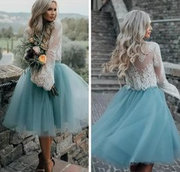 Wholesale Tea Length White Cocktail Dresses - 2018 Mini Blue Lace Long Sleeve Homecoming Dresses Ball Gown Sweet 16 Graduation Dresses Little Short Cocktail Dress Prom Party Dresses