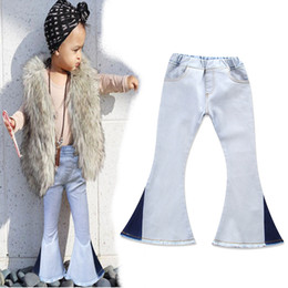 Wholesale Bell Bottomed Trousers - Girls fashion splicing bell-bottoms chick denim flared trousers children jeans for kids 3-7T