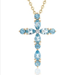 Wholesale Gold Color Charms - Zhen new plating 18K gold plated Topaz natural color stone cross pendants female clavicle necklace wholesale