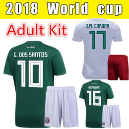 Wholesale custom h - 2018 World Cup Mexico Soccer Suit Adult Set Home Green Away White G. DOS SANTOS 10 H. LOZANO 8 H. HERRERA 16 Custom Soccer Wear