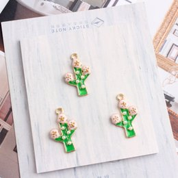 Wholesale Cactus Trees - whole sale10PCS Fashion Oil Drop Metal Charm Imitation Pearls Cactus Tree Charm Alloy Pendant Fit Bracelet DIY Fashion Jewelry Accessories