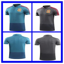 Wholesale Beige Uniform - top quality 2018 World Cup Spain Soccer Jersey Polo Shirt PIQUE A.INIESTA ISCO DE GEA SERGIO RAMOS A.MORATA Men's Polo Uniform