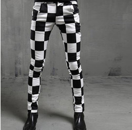 Wholesale Dj Blend - Men Fashion Black White Plaid Slim Fit Pants Nightclub Stage Clothes For Singers DJ Men Harajuku Casual Houndstooth skinny Pants