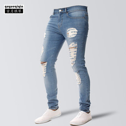 e78d2f1d63b94 Skinny Jeans Men 2018 Fashion Personality Ripped Jean Broken Hole Slim  Jeans Handsome Hip Hop Trousers Denim Pants Plus Size