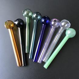 4 Inç Kafatası Serin Pyrex Cam Yağı Burner Boru Straigh Tüp Cam El Borusu Sigara Borular Stokta 8 Farklı Renkler SW37 cheap cool pipes nereden serin borular tedarikçiler