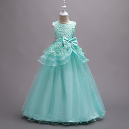 Wholesale Mint Green Gowns - Beautiful Mint Green Flower Girl Dresses 2018 Petals Kids Formal Wears Evening Gowns Ball Gown Pageant For Girls Peplum with Bow MC1320