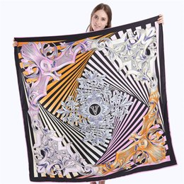 Wholesale Flower Scarfs - 130x130cm 100% Silk Scarf Women Square Scarf 2017 Euro Flower print Neckerchief Woman Scarves V Letter Foulard Silk Hijab Lady Bandana