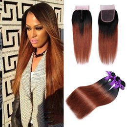 Two Tone Black Dark Brown Ombre 1B 33 Brazilian Peruvian Malaysian Straight Human Hair Weave Ombre Color Hair 3 Bundles with Lace Closure Deals