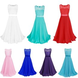 Wholesale Teenager Pageant Dresses - Kids Baby Girls Party Chiffon Lace Dress Flower Pageant Prom Christening Dress Recital Teenager Graduation Princess Holiday Long Dress